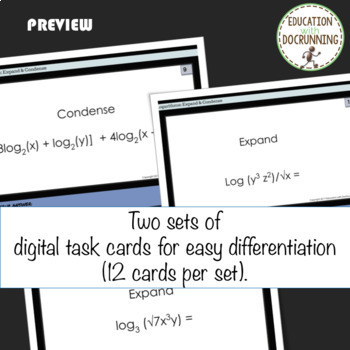 Expand and Condense Logarithms Digital Task Card Activity