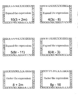 Expand and Factor Algebraic Expressions Game Board