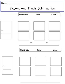 Expand and Trade Subtraction Graphic Organizer