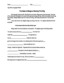 Expand the Sentence Using Similes with Sentence Frames: Missing Wig Mystery