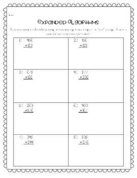 Expanded Algorithms Worksheet--for Addition