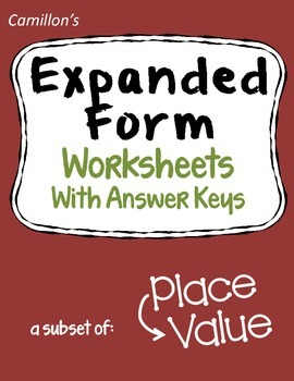 Expanded Form Worksheets with Answer Keys