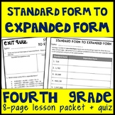 Standard to Expanded Form, 8-Page Guided Notes and Exit Quiz, 4.NBT.2