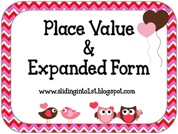 Expanded Form Activity Cards-Valentine's Day