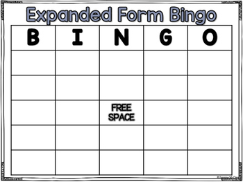 Expanded Form Bingo