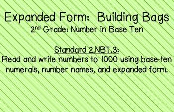 Expanded Form: Building Bags 2.NBT.3