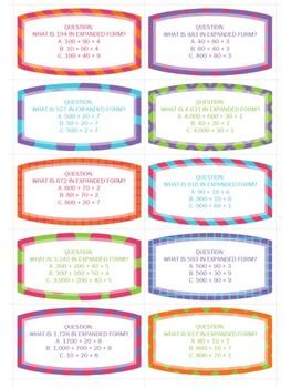 Expanded Form Bundle (30 Task Cards & 3 Worksheets)