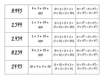 Expanded Form Card Sort (decimals)