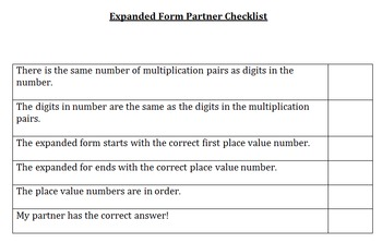 Expanded Form Checklist