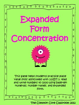 Expanded Form Concentration 2nd Grade Math Game 2 Nbt