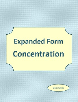Expanded Form Concentration Game
