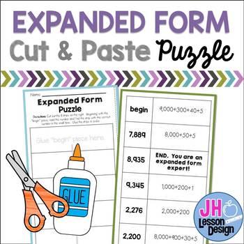 Expanded Form Cut & Paste Puzzle