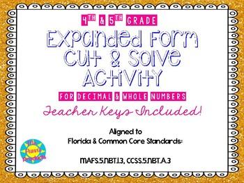 Expanded Form Cut & Solve Activity