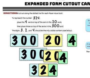 Expanded Form - Cutout Cards