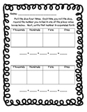 Expanded Form Dice Game Recording Sheet