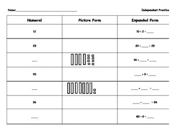 Expanded Form, Digit Form, Picture Form, and Numeral Practice