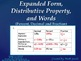 Expanded Form, Distributive Property, and  Words (Percent, Decimal and Fraction)