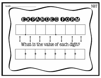 Expanded Form Graphic Organizer