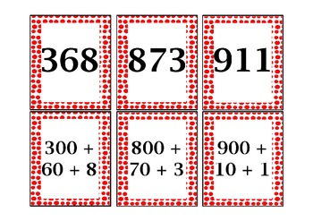 Expanded Form Matching Game in the Hundreds