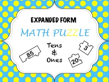 Expanded Form Matching - Tens and Ones Puzzle Cut & Paste FREEBIE