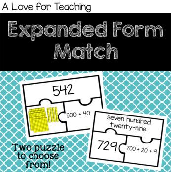 Expanded Form Puzzle Match
