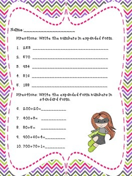 Expanded Form Math Assessment