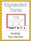 Expanded Form Math File Folder Game - Place Value Hundreds, Tens & Ones