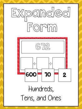 Expanded Form Math File Folder Game - Place Value Hundreds