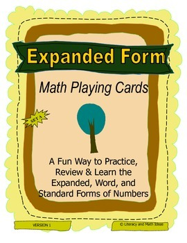 Expanded Form Math Playing Cards