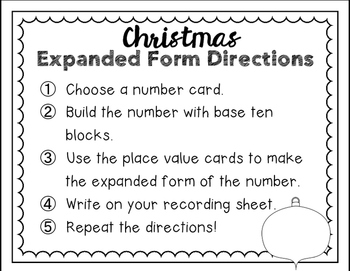 Expanded Form Math Station - Christmas Theme