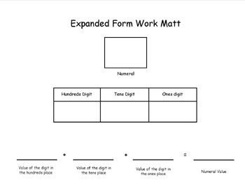 Expanded Form Math Work Mat