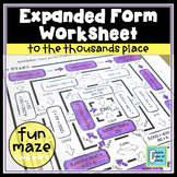 Expanded Form Worksheet to Thousands