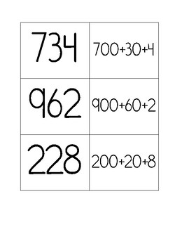 Expanded Form Memory - 2 and 3 digit