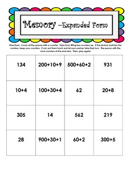 Expanded Form - Memory Games