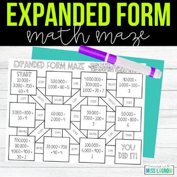 Expanded Form Place Value Maze Center or Station Worksheet