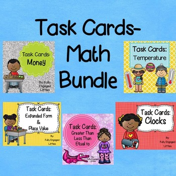 Expanded Form, Place Value, Telling Time, Money, & Temperature- Task Cards