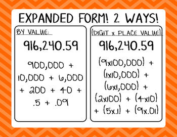 expanded form 2 ways  Expanded Form Posters & Worksheets | Teachers Pay Teachers