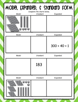 Expanded Form Posters & Worksheets - Common Core Aligned