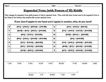 Expanded Form Riddle