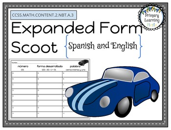 Expanded Form Scoot (Forma Desarrollada) in Spanish and English