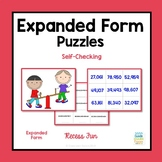 Expanded Form Self-Checking Recess Fun Picture Puzzles