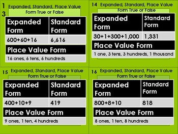 Place Value Form Task Cards (32 Cards)