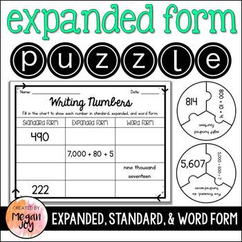 expanded form puzzle  Expanded Form, Standard Form, & Word Form Puzzle & Worksheets