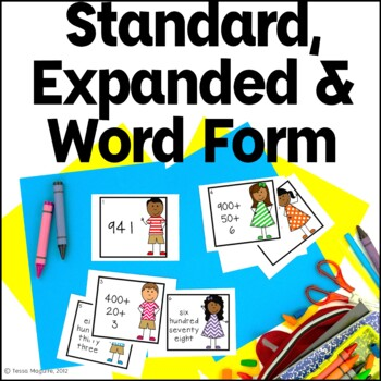 Expanded Form, Standard Form, Word Form Write the Room Task Cards