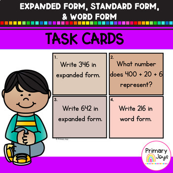 Expanded Form, Standard Form and Word Form Task Cards