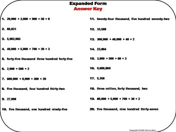 Expanded Form Task Cards 4th 5th 6th Grade