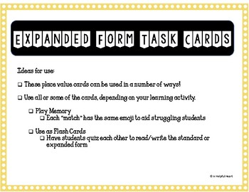 Expanded Form Task Cards to the Ten Thousands *Freebie*