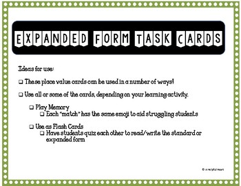 Expanded Form Task Cards to the Hundred Thousands