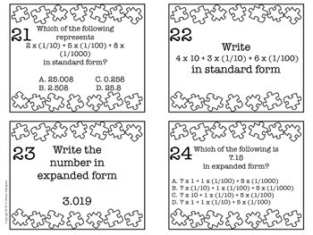 Expanded Form Task Cards 5th Grade Common Core