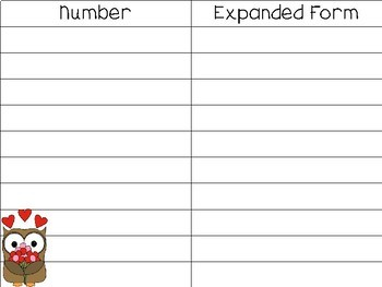 Expanded Form Task Cards: A Valentines Day Math Center